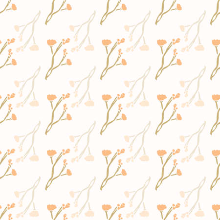 Stemmed Daisy Wildflower Motif Background. Naive Margerite Flower Seamless Pattern on White. Delicate Leaf Twig Hand Drawn Textile. Baby Breath Summer Floral Repeat Illustration. Vector Stock Illustratie