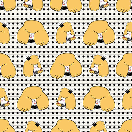 Cute girl with poodle puppy dog seamless vector pattern. Japanese style cartoon smiling animal and happy woman person background. Adorable girly hand drawn sketch of doggies and their owner.
