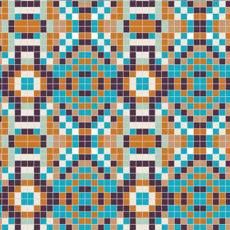 Portuguese Azulejos Tiny Tiles Vintage Pattern Background. Colorful Pixel Grout Graphic Ceramic Design. Seamless 1960s Style Retro Geometric Wallpaper. Flat Color. Swatch Tile Repeat Vector Vettoriali