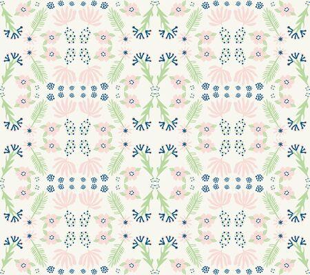 Floral Damask Motif Background. Naive Blossom Spring Flower Seamless Pattern. Ditsy Elegant Stemmed Bloom on Cream Beige with Leaf. Hand Drawn Textile Wallpaper