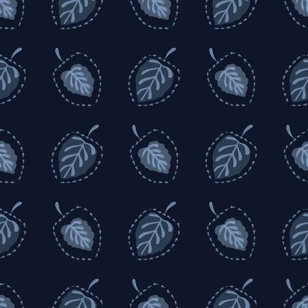 Classic Blue Japanese Leaves Background. Dark Indigo Dye Seamless Vector Pattern. Hand Drawn Delicate Leaves Texture for Textile Prints, Japan Nature Decor, Asian Backdrop. 向量圖像