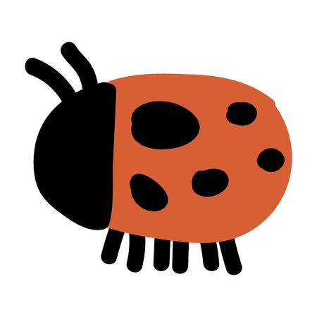 Cute simple naive ladybug doodle clipart. Hand drawn red spotted insect. Flat color entomology beetle illustration. Isolated eco, bug, animal, spot, dot.