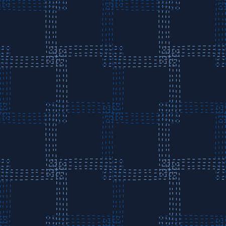 Embroidery Boro Patch Kantha Vector Pattern. Asian Needlework Seamless Background Indigo Blue Style. Sashiko Running Hand Stitch Texture Textile Print. Japan Decor. Masculine Quilting Tile