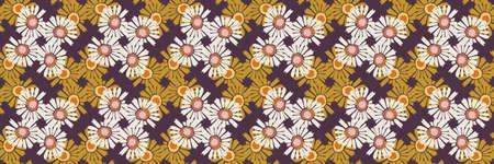 1970s Retro Daisy Wildflower Motif Banner Background. Naive Margerite Flower Seamless Pattern. White on Brown Border. Hand Drawn Textile. Bold Summer Bloom Vintage Ribbon Trim Edge.
