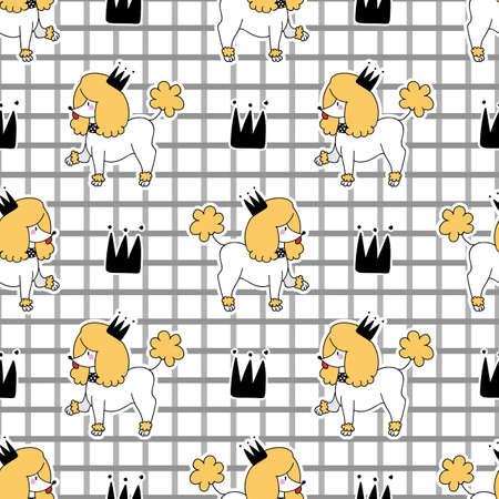 Cute poodle puppy dog with crown seamless vector pattern. Japanese style cartoon smiling happy animal background. Adorable girly hand drawn sketch of doggies on check.