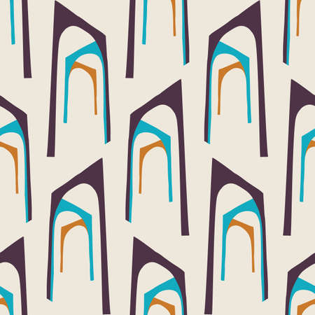 Mid Century Modern Vintage Pattern Background. Architectural Archway Trend Shape. Seamless 1970s StyleR etro Fabric Geometric Wallpaper. Hip Beige Brown Flat Color. Swatch Tile Repeat Vector