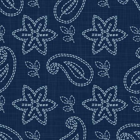 Flower Paisley Motif Embroidery Motif Background. Japanese Sashiko Needlework Seamless Linen Pattern. Hand Running Stitch Indigo Dark Blue. Texture Textile Allover Print. Japan Quilt. Vector Stock Illustratie