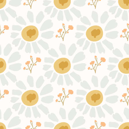 Naive Lawn Daisy Wildflower Motif Background. Naive Margerite Flower Seamless Pattern on White. Delicate Leaves Hand Drawn Textile. Spring and Summer Meadow Repeat Illustration. Vector Stock Illustratie