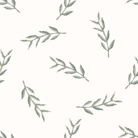 Watercolor Stem Leaf Motif Background. Seamless Pattern Sage Green on White. Delicate Leaves Hand Drawn for Textile Print. Spring Home Decor. Olive Branch Aquarelle Artwork. Repeat VectorTile