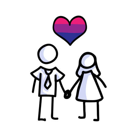 Hand drawn stick figure of bisexual marriage. Concept of lgbt equality for diversity illustration. Simple icon motif of gay relationship. men, woman, bride, groom, valentines. Vector