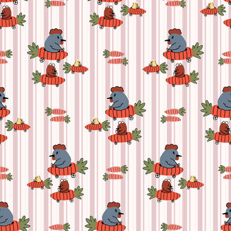 Hand drawn cute chickens in easter carrot car seamless pattern. Vector vegetable vehicle on gingham background. Root and hen all over print. Spring chick hen and rooster.