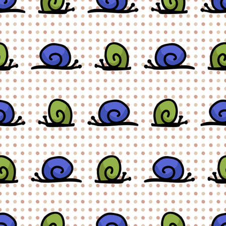 Cute simply stylized snail seamless vector pattern. Hand drawn mollusk insect on polka dot background. Garden pest home decor. Blue, green, spiral, nature, bug all over print. Stock Illustratie