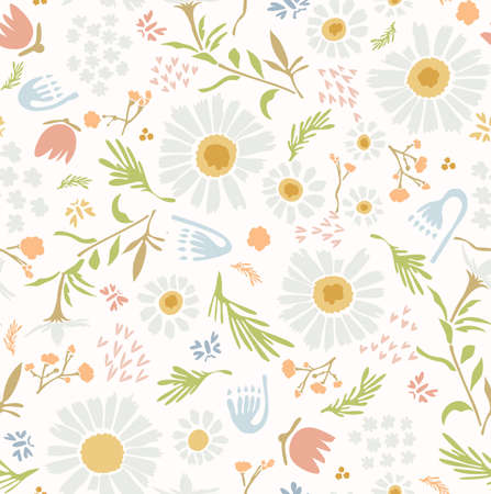 Chamomile Lawn Daisy Wildflower Motif Background. Naive Margerite Flower Seamless Pattern on White. Delicate Leaves Hand Drawn Textile. Spring and Summer Meadow Repeat Illustration. Vector Stock Illustratie