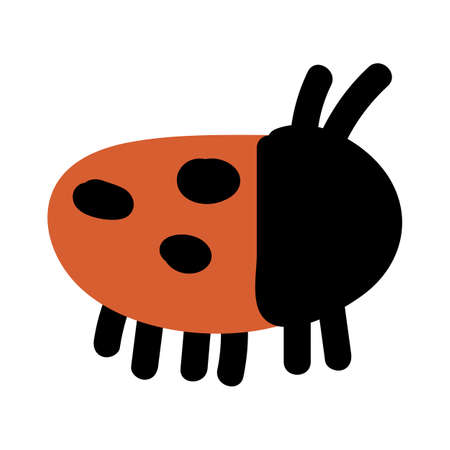 Cute simple ladybug doodle clipart. Hand drawn red spotted insect. Flat color naive entomology beetle illustration. Isolated eco, bug, animal, spot, dot. Vector