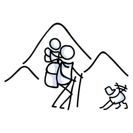 Hiking stick figure line art icon. Carrying backpack, track pole and kids.Leisure walking, climbing and family trekking with pet dog lifestyle . Wilderness adventure and nature travel bonding concept.