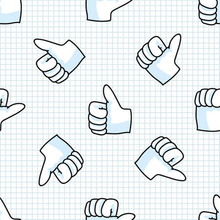 Cute thumbs up hand symbol seamless vector pattern. Hand drawn expression gesture for simple stylized sign. Hand gesture home decor. Isolated communication good, correct all over print. Stock Illustratie