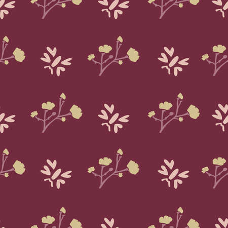 Winter Flower Daisy Motif on Dark Red Background. Naive Ditsies Floral Petal Marguarite . Seamless Pattern with Delicate Gypsophila Stem. Hand Drawn Vintage Tile Repeat Illustration. Vector