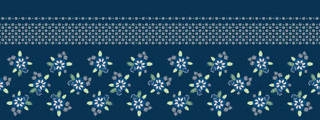 Classic Blue Daisy Floral Millefleur Border Background. Liberty Style Flower Seamless Banner Pattern. Ditsy Elegant Navy Bloom on Dark Midnight Textile Edge Trim. Classy Washi Tape Vector