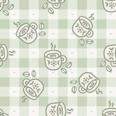 Cute stylized afternoon teacup seamless vector pattern. Hand drawn green gingham domestic ceramic kettle background. Hot drink kitchenware home decor. British crockery all over print.