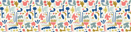Abstract Cut Out Shapes Border Pattern Seamless Background, Hand Drawn Matisse Style Collage Graphic Illustration for Modern Fashion Border Trim, Playfull Kids Washi Tape Edging. Vector