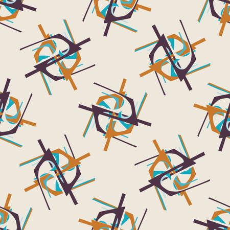Mid Century Modern Vintage Pattern Background. Graphic Design Trend Shape. Seamless 1960s Style Retro Fabric Geometric Wallpaper. Stock Illustratie