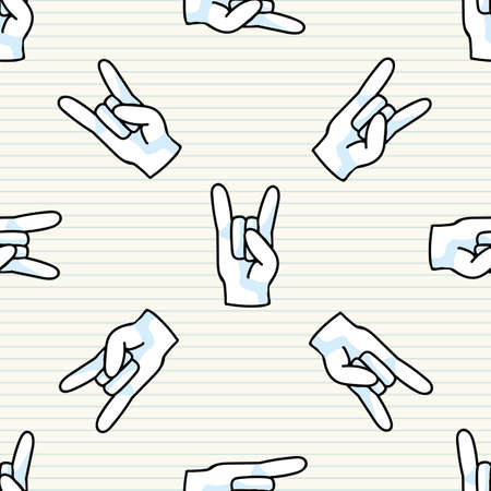 Cute rock on hand symbol seamless vector pattern. Hand drawn expression gesture for simple stylized sign. Hand gesture home decor. Isolated communication concept all over print.
