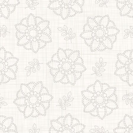 Gray French Linen Texture Background printed with White Daisy Flower. Natural Ecru Flax Fibre Seamless Pattern. Organic Yarn Close Up Grey Beige Weave Fabric Wallpaper, Neutral. 向量圖像