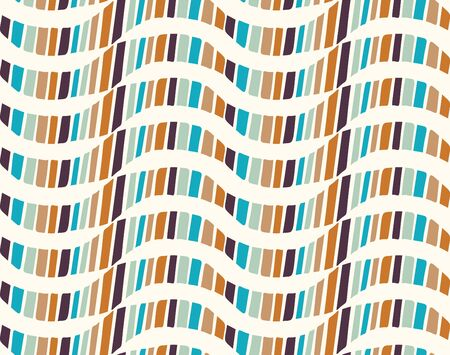 Mid Century Modern Vintage Pattern Background. Wave Stripe Masculine Graphic Design. Seamless Wavy 1960s Style Retro Geometric Wallpaper. Hipster Flat Color. Swatch Tile Repeat Vector.