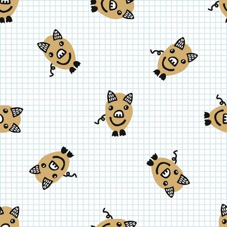 Kawaii doodle pig seamless vector pattern. Hand drawn fat farm hog on check background. Pork livestock cute home decor. Kids, boar, swine, sow,mammal, naive. Illustration