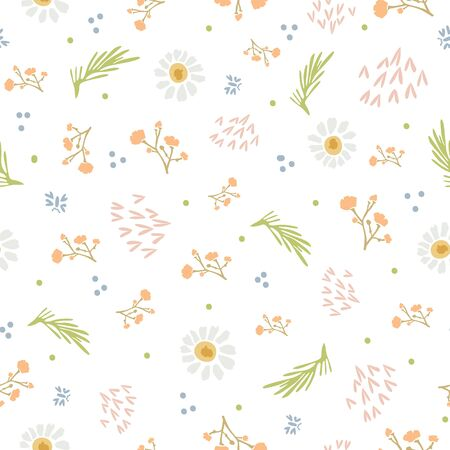 Chamomile Lawn Daisy Wildflower Motif Background. Naive Margerite Flower Seamless Pattern on White. Delicate Leaves Hand Drawn Textile. Spring and Summer Meadow Repeat Illustration. Vetores