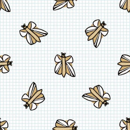 doodle butterfly seamless vector pattern. Hand drawn naive monarch insect background. Wildlife ecology flying bug cute home decor. Ilustração