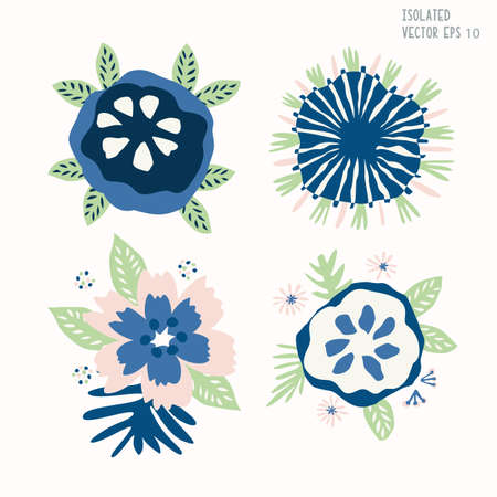 Hand Drawn Stylized Flower Clip Art. Classic Blue Cream and Blush Floral Motif Icon in Paper Cut Out Style. Perfect for Invitation, Florist, Wedding Flora Illustration. Isolated Set of 4 Vector