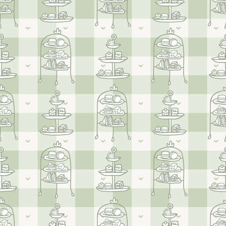 Cute cake stand seamless vector pattern. Hand drawn green gingham afternoon tea pastry background. Traditional british cream tea home decor. Sweet dessert all over print.