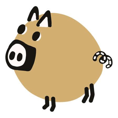 doodle pig clipart. Hand drawn fat farm hog. Pork livestock cute illustration in flat color. Isolated kids, boar, swine, mammal. Vector