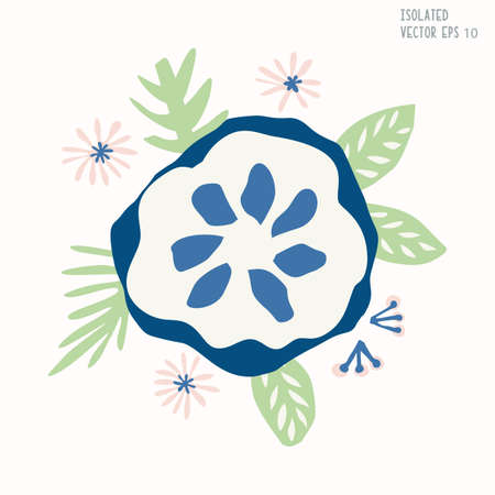 Hand Drawn Stylized Flower Clip Art. Classic Blue Cream and Blush Floral Motif Icon in Paper Cut Out Style. Perfect for Invitation, Florist, Romantic Wedding Flora Illustration. Isolated Vector