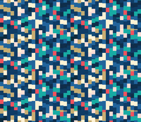 Classic Blue Close Up Mini Pixel Grid Mosaic Texture Background. Dark Abstract Macro Seamless Pattern. Indigo, Red and White. Repeat Swatch Tile Vector