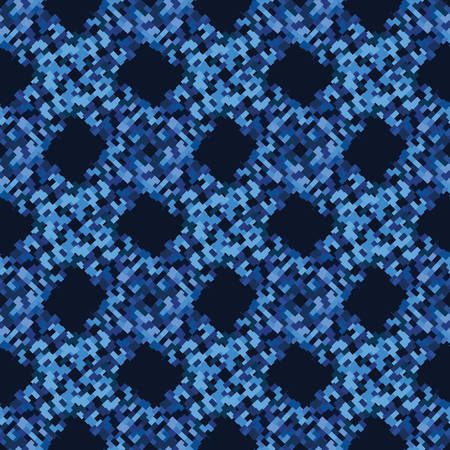 Classic Blue Close Up Woven Texture Background. Dark Abstract Interlocking Pixel Grid Mosaic Seamless Pattern. Indigo Dye Effect Textile. Masculine All Over Print. Repeat Swatch Tile Vector