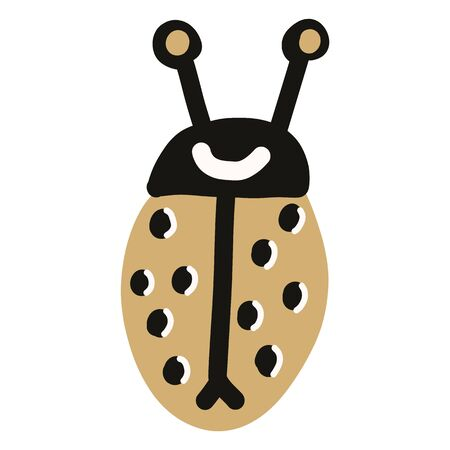 Cute simple naive ladybird doodle clipart. Hand drawn red spotted insect. Flat color entomology beetle illustration. Isolated bug, animal, spot, dot.
