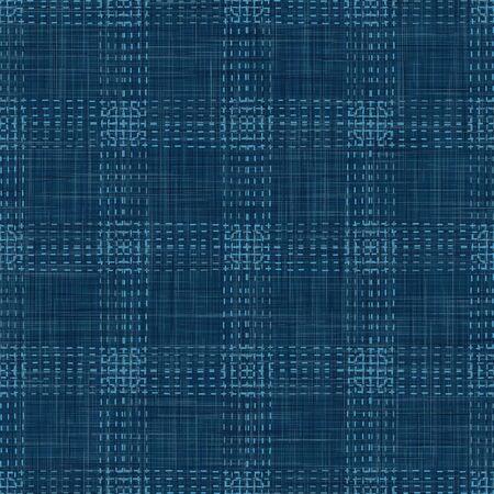 Embroidery Boro Patch Kantha Vector Pattern. Asian Needlework Seamless Background Denim Blue Style. Sashiko Running Hand Stitch Texture Textile Print. Japan Decor. Masculine Quilting.