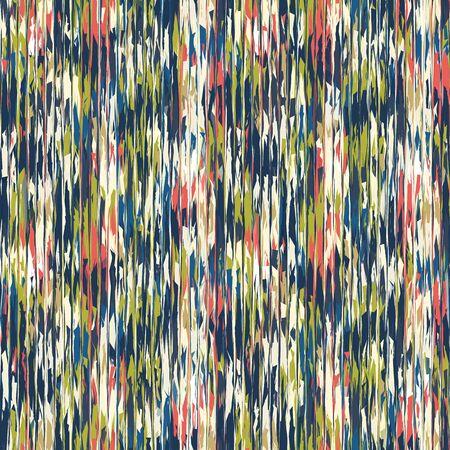 Blotched Space Dye Broken Stripe Seamless Pattern. Mottled Variegated Melange Background. Random Vertical Rough Distressed Line Wallpaper. Masculine Striped All Over Print Vector . Illustration