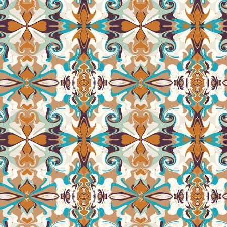 Arabesque Persian Style Vintage Pattern Background. Damask Swirl Scarf Graphic Design. Seamless Retro Kaleidoscope Mosaic Butah Ornate Wallpaper. Ethnic Flat Color. Swatch Tile Repeat Vector. Иллюстрация