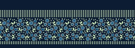 Classic Blue Daisy Blossom Motif Banner Background. Naive Margerite Flower Seamless Border Pattern. Delicate Leaves Hand Drawn Textile. Bold Spring Tulip Vintage Ribbon Trim Edge. Vectores