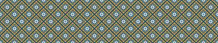Portuguese Mosaic Tile Seamless Border Pattern. Ceramic Azulejo Style. Tiled Motif Graphic Banner. Traditional Portugal Tourism Ribbon Trim.Travel Brochure Background. Packaging Design.