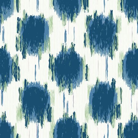 Classic Blue Glitch Space Dye Polka Dot Texture. Painterly Seamless Pattern with Blotched Shibori Effect. Ikat White. Dripping Dotty Distressed Summer Background. Textile All Over Print.