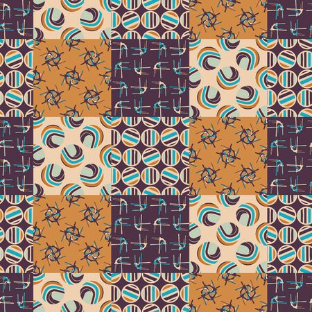 Mid Century Modern Vintage Pattern Background. Patchwork Quilt Masculine Graphic Design. Seamless Mosaic 1960s Style Retro Geometric Wallpaper. Hipster Flat Color. Swatch Tile Repeat Vector. Иллюстрация