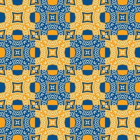 Portuguese Vector Tile Azulejo Pattern. Seamless Lisbon Blue Yellow on White Mosaic Square Background. Traditional Floral Ceramic Mediterranean Style Design. Geometric All Over Print Фото со стока - 140906991