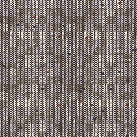 Gray Beige Marl Blanket Knit Stitch Seamless Pattern. Handicraft Texture Background. For Woolen Fabric, Natural Gender Neutral Variegated Homespun Textile. Yarn Melange All Over Print. Ilustrace