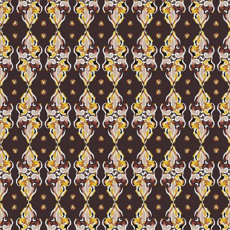 Hand Drawn Indiennne Paisley Motif Seamless Pattern. Ornate Arabesque Ornamental on Brown Background. Painted Ogee Bohemian Damask Textile. Packaging, Wallpaper All Over Print.