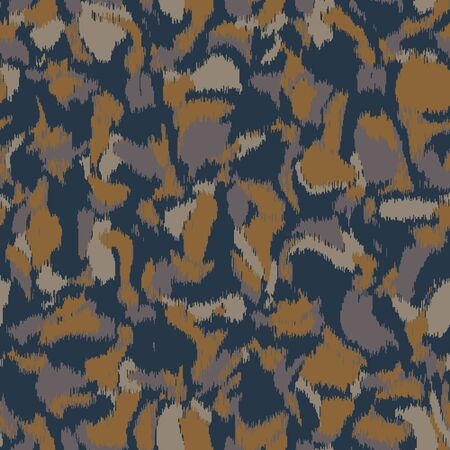 Spliced vector camouflage spots texture. Variegated animal skin background. Seamless camo ikat pattern. Modern distorted mottled textile all over print. Military fashion disrupted glitch tile. 向量圖像