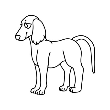 Cute cartoon monochrome puppy saluki dog breed lineart vector clipart. Pedigree kennel doggie breed for dog lovers. Purebred domestic for pet parlor illustration mascot. Isolated canine borzoi